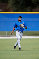 Toronto Blue Jays Mc Gregory Contreras (25) tracks a fly ball during an Instructional League game against the Philadelphia Phillies on October 7, 2017 at the Englebert Complex in Dunedin, Florida.  (Mike Janes/Four Seam Images)