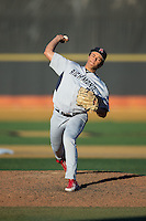 Richmond Spiders relief pitcher Caleb Ward (9) in action against the Wake Forest Demon Deacons at David F. Couch Ballpark on March 6, 2016 in Winston-Salem, North Carolina.  The Demon Deacons defeated the Spiders 17-4.  (Brian Westerholt/Four Seam Images)