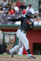 Julio Morban #17 of the High Desert Mavericks bats against the Inland Empire 66'ers at San Manuel Stadium on August 26, 2012 in San Bernardino, California. High Desert defeated Inland Empire 4-0. (Larry Goren/Four Seam Images)