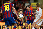 Football Season 2009-2010. Barcelona's player Thierry Henry scores a  goal while Zlatan Ibrahimovic watches the action during the Spanish first division soccer match at Camp Nou stadium in Barcelona November 07, 2009.