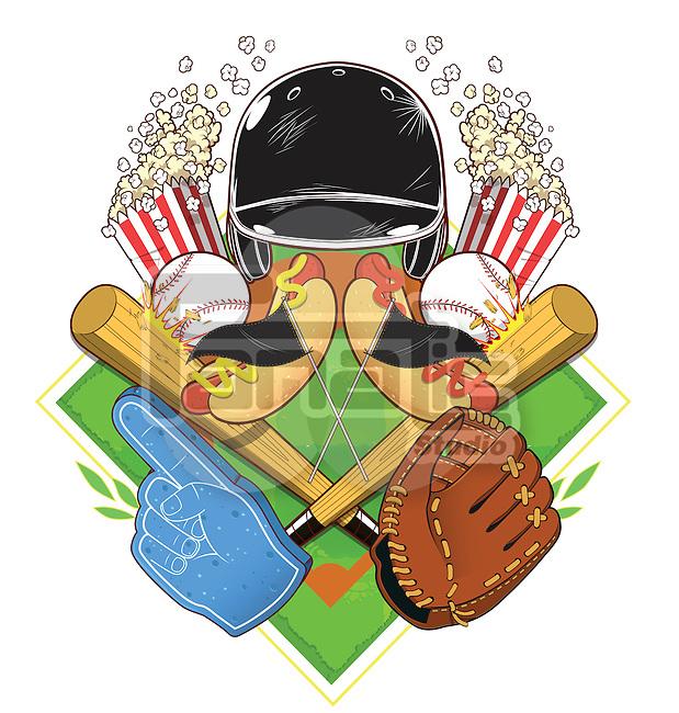 Illustrative image of popcorn and baseball equipment against white background