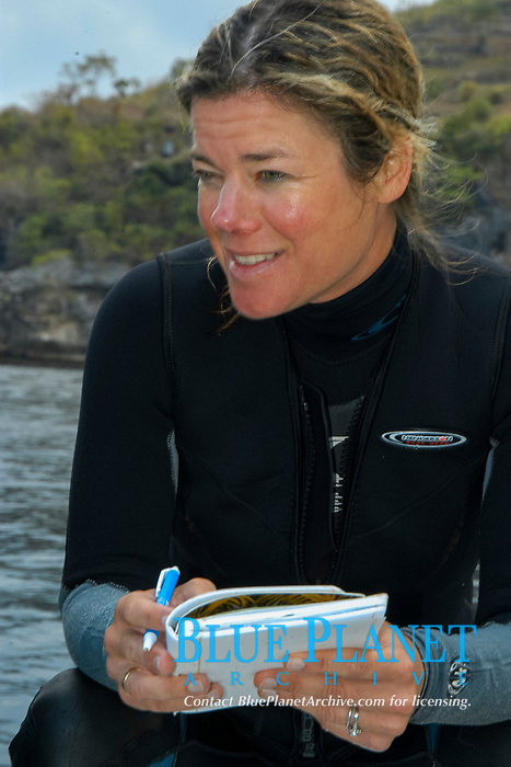 Marine Biologist Tierney Thys disccuses satellite tagging for a mola mola, or ocean sunfish, at Crystal Bay, Nusa Penida, Indonesia