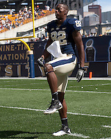 Pitt Panther wide receiver Jonathan Baldwin warms up before the second half. The Pittsburgh Panthers defeat the New Hampshire Wildcats 38-16 at Heinz Field, Pittsburgh Pennsylvania on September 11, 2010.