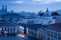 Quito at dawn from Plaza San Francisco towards Church of the Company, Ecuador, South America