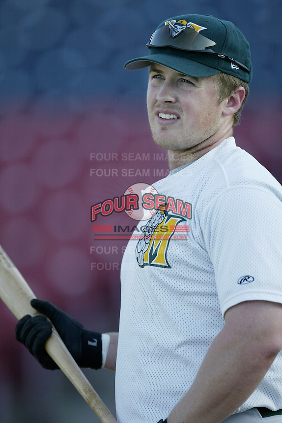 Casey Myers of the Modesto A's before a California League 2002 season game against the High Desert Mavericks at Mavericks Stadium, in Adelanto, California. (Larry Goren/Four Seam Images)