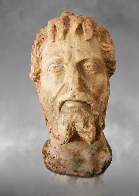 Roman sculpture of the Emperor Septime Severe, excavated  from Choud El Battan sculpted circa 193-211AD. The Bardo National Museum, Tunis, Inv No: C.73. Against a grey art background.