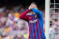 26th September 2021;   Nou Camp, Barcelona, Spain: La Liga football, FC Barcelona versus Levante: Gerard Pique  Barcelona as he misses a good scoring chance