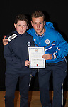 St Johnstone FC Academy Awards Night...06.04.15  Perth Concert Hall<br /> Ally Gilchrist presents a certificate to Andrew McKenzie<br /> Picture by Graeme Hart.<br /> Copyright Perthshire Picture Agency<br /> Tel: 01738 623350  Mobile: 07990 594431
