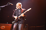 Alex Lifeson of Rush performing live in the USA in 1985.