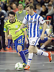 Pescara's Leandro Cuzzolino (r) and Inter FS's Rafael during UEFA Futsal Cup 2015/2016 Semifinal match. April 22,2016. (ALTERPHOTOS/Acero)