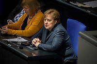 Sitzung des Deutschen Bundestag am Mittwoch den 4. Maerz 2020.<br /> Im Bild: Bundeskanzlerin Angela Merkel (CDU).<br /> 4.3.2020, Berlin<br /> Copyright: Christian-Ditsch.de<br /> [NUR FUER REDAKTIONELLE ZWECKE! Werbung nur auf Anfrage beim Fotografen. Inhaltsveraendernde Manipulation des Fotos nur nach ausdruecklicher Genehmigung des Fotografen. Vereinbarungen ueber Abtretung von Persoenlichkeitsrechten/Model Release der abgebildeten Person/Personen liegen nicht vor. NO MODEL RELEASE! Don't publish without copyright Christian-Ditsch.de, Veroeffentlichung nur mit Fotografennennung, sowie gegen Honorar, MwSt. und Beleg. Konto: I N G - D i B a, IBAN DE58500105175400192269, BIC INGDDEFFXXX, Kontakt: post@christian-ditsch.de<br /> Bei der Bearbeitung der Dateiinformationen darf die Urheberkennzeichnung in den EXIF- und  IPTC-Daten nicht entfernt werden, diese sind in digitalen Medien nach §95c UrhG rechtlich geschuetzt. Der Urhebervermerk wird gemaess §13 UrhG verlangt.]