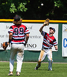 WATERBURY, CT 072821JS08 CT Gamecocks' Ben Stewart (65) catches a fly ball as teammate Croy Mastropietro (99) look on during their game against the Michigan Bulls in the opening round of the Mickey Mantle World Series at Municipal Stadium in Waterbury. <br /> Jim Shannon Republican American