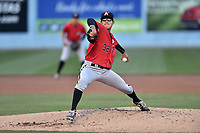 Kannapolis Intimidators starting pitcher Bernardo Flores (17) delivers a pitch during a game against the Asheville Tourists at McCormick Field on April 18, 2017 in Asheville, North Carolina. The Intimidators defeated the Tourists 2-1. (Tony Farlow/Four Seam Images)