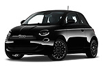 Stock pictures of low aggressive front three quarter view of 2021 Fiat 500 Icon 3 Door Hatchback Low Aggressive