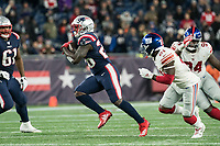 FOXBORO, MA - OCTOBER 10: New England Patriots Runningback Sony Michel (26) during a game between New York Giants and New England Patriots at Gillettes on October 10, 2019 in Foxboro, Massachusetts.
