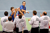 Tenis, Davis Cup 2010.Serbia Vs. Czech Republic, semifinals.Novak Djokovic and Nenad Zimonjic Vs. Radek Stepanek and Tomas Berdych.Radek Stepanek and Tomas Berdych, celebrate win.Beograd, 17.09.2010..foto: Srdjan Stevanovic/Starsportphoto ©