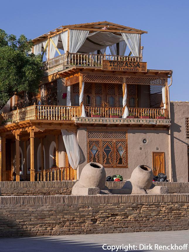 Restaurant Terrassa in Xiva, Usbekistan, Asien<br /> Restaurant Terrassa, historic city Ichan Qala, Chiwa, Uzbekistan, Asia