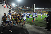 The Bulldogs run out during the NRL match between the NZ Warriors and Canterbury Bulldogs at Westpac Stadium, Wellington, New Zealand on Saturday, 11 May 2013. Photo: Dave Lintott / lintottphoto.co.nz