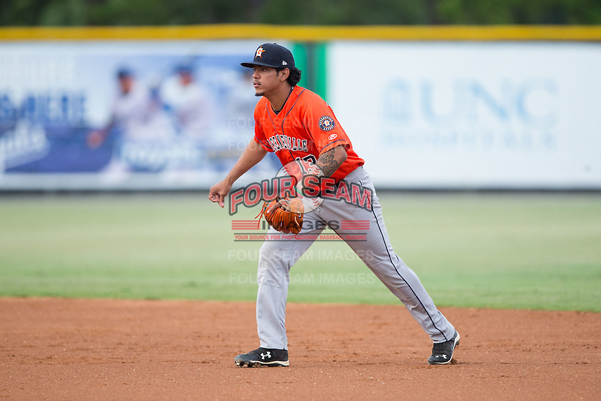 Greeneville Astros second baseman Arturo Michelena (13) on defense against the Burlington Royals at Burlington Athletic Park on August 29, 2015 in Burlington, North Carolina.  The Royals defeated the Astros 3-1. (Brian Westerholt/Four Seam Images)