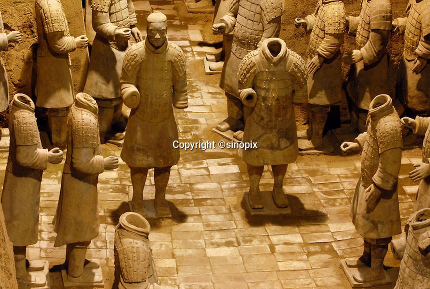 Terracotta warriors in Xian, Shaanxi province, China.