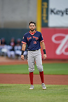 Portland Sea Dogs C.J. Chatham (15) during an Eastern League game against the Erie SeaWolves on June 17, 2019 at UPMC Park in Erie, Pennsylvania.  Portland defeated Erie 6-3.  (Mike Janes/Four Seam Images)