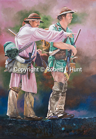 """Early woodland Indian traders and explorers Stephen Franks and John Hart finding their way through the 1700's colonial Pennsylvania frontier. These trailblazers were some of the first white men to move regularly amongst the native American peoples beyond the civilization of the eastern seaboard. Oil on canvas, 30"""" x 21""""."""