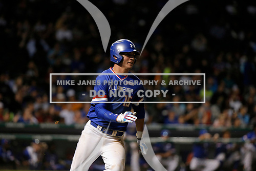 Jordan Groshans (15) of Magnolia High School in Magnolia, Texas during the Under Armour All-American Game presented by Baseball Factory on July 29, 2017 at Wrigley Field in Chicago, Illinois.  (Mike Janes/Four Seam Images)