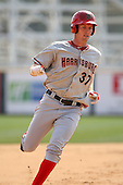 April 11, 2010:  First overall draft pick of the 2009 MLB Draft Stephen Strasburg (37) rounds third base while making his professional debut with the Harrisburg Senators, Double-A affiliate of the Washington Nationals, in a game vs. the Altoona Curve, affiliate of the Pittsburgh Pirates, at Blair County Ballpark in Altoona, PA.  Strasburg scored on the play after hitting a double.  Photo By Mike Janes/Four Seam Images