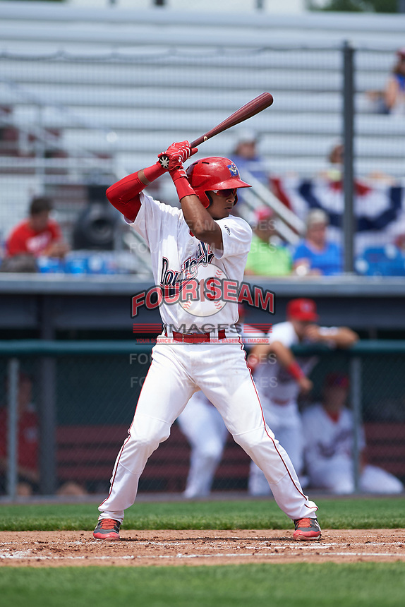 Auburn Doubledays catcher Jeyner Baez (13) at bat during the first game of a doubleheader against the Mahoning Valley Scrappers on July 2, 2017 at Falcon Park in Auburn, New York.  Mahoning Valley defeated Auburn 3-0.  (Mike Janes/Four Seam Images)