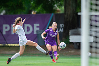 SANFORD, FL - APRIL 3: Courtney Petersen of the Orlando Pride kicks the ball during a game between Florida State Seminoles and Orlando Pride at Sylvan Park Training Center on April 3, 2021 in Sanford, Florida.
