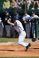 Chance Bowden (15) of the Catawba Indians follows through on his swing against the Wingate Bulldogs at Newman Park on March 19, 2017 in Salisbury, North Carolina. The Indians defeated the Bulldogs 12-6. (Brian Westerholt/Four Seam Images)