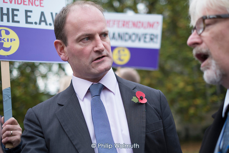 Douglas Carswell MP. UKIP lobby of Parliament against the handover of legal powers, including the European Arrest Warrant, to the EU.  Old Palace Yard, Westminster, London.