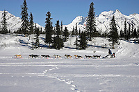 March 5, 2007   Rainy Pass checkpoint----   John Baker runs dwon the trail near the Rainy Pass checkpoint on Puntilla Lake with the Alaska Range in the background.