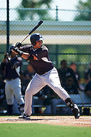GCL Yankees East first baseman Pedro Urena (99) at bat during a game against the GCL Pirates on August 15, 2016 at the Pirate City in Bradenton, Florida.  GCL Pirates defeated GCL Yankees East 5-2.  (Mike Janes/Four Seam Images)