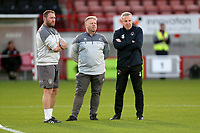 Leyton Orient manager Kenny Jackett (R) and Crawley Town manager John Yems (C) during Crawley Town vs Leyton Orient, Papa John's Trophy Football at The People's Pension Stadium on 5th October 2021