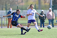 Ellen Martens (2) of Club Brugge pictured in a duel with Tessa Wullaert (27) of Anderlecht during a female soccer game between Club Brugge Dames YLA and RSC Anderlecht on the fourth matchday in Play-Off 1 of the 2020 - 2021 season of Belgian Scooore Womens Super League , saturday 1st May 2021  in Brugge , Belgium . PHOTO SPORTPIX.BE | SPP | DAVID CATRY