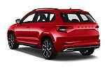 Car pictures of rear three quarter view of 2020 Skoda Karoq Sport-Line 5 Door SUV Angular Rear