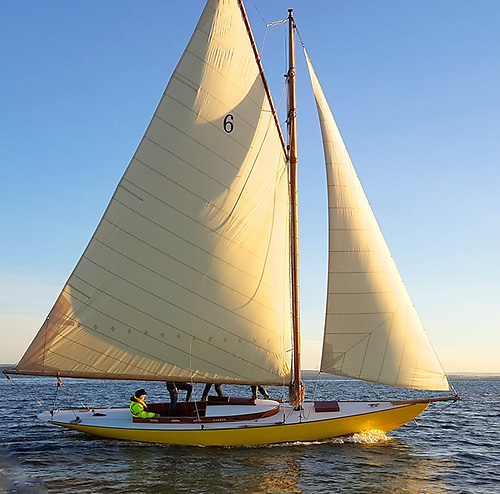 The restored 1905 Dun Laoghaire-built Dublin Bay 21 Naneen is expected back in her birthplace in 2021