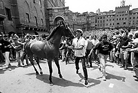 © Francesco Cito / Panos Pictures..Siena, Tuscany, Italy. The Palio. ..Each contrada (city district) has a horse assigned to it by lottery. Here the residents of one contrada celebrate being assigned one of the best horses...Twice each summer, the Piazza del Campo in the medieval Tuscan town of Siena is transformed into a dirt racetrack for Il Palio, the most passionately contested horse race in the world. The race, which lasts just 90 seconds, has become intrinsic to the town's heritage since it was first run in 1597.