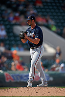 Atlanta Braves relief pitcher Kyle Muller (89) gets ready to deliver a pitch during a Grapefruit League Spring Training game against the Detroit Tigers on March 2, 2019 at Publix Field at Joker Marchant Stadium in Lakeland, Florida.  Tigers defeated the Braves 7-4.  (Mike Janes/Four Seam Images)