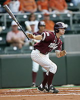Texas A&M 3B Dane Carter follows through against Texas on May 16th, 2008 in Austin Texas. Photo by Andrew Woolley / Four Seam images.
