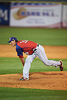 Hagerstown Suns pitcher Brett Mooneyham (33) delivers a pitch during a game against the Lexington Legends on May 22, 2015 at Whitaker Bank Ballpark in Lexington, Kentucky.  Lexington defeated Hagerstown 5-1.  (Mike Janes/Four Seam Images)