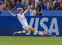 PARIS,  - JUNE 28: Megan Rapinoe #15 tries to control the ball during a game between France and USWNT at Parc des Princes on June 28, 2019 in Paris, France.