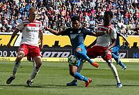 15.04.2018, Wirsol Rhein-Neckar-Arena, Sinsheim, GER, 1.FBL, TSG 1899 Hoffenheim vs Hamburger SV, <br />Rick van Drongelen (Hamburg), Serge Gnabry (Hoffenheim), Gideon Jung (Hamburg) *** Local Caption *** © pixathlon<br /> Contact: +49-40-22 63 02 60 , info@pixathlon.de