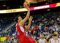 Serbia's Milos Teodosic shoots the ball during European championship group B basketball match between Turkey and Serbia on 09. September 2015 in Berlin, Germany  (credit image & photo: Pedja Milosavljevic / STARSPORT)