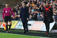 Swansea City manager Paul Clement and Bournemouth assistant Jason Tindall during the Premier League match between Swansea City and Bournemouth at the Liberty Stadium, Swansea, Wales, UK. Saturday 25 November 2017