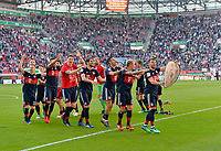 07.04.2018, Football 1. Bundesliga 2017/2018, 29.  match day, FC Augsburg - FC Bayern Muenchen, in WWK-Arena Augsburg. FC Bayern ist   dem 3:1 Sieg Germanr Football Meister 2018,   Schlusspfiff wird bei den Fans in Kurve gecelebrates,  and einer Polonaise r Bayernspieler. re: Juan Bernat (FC Bayern Muenchen). *** Local Caption *** © pixathlon