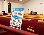 February 10, 2017. Raleigh, North Carolina.<br /> <br /> A poster at Rush Metropolitan A.M.E. Zion Church spells out the beliefs of the HKONJ supporters.<br /> <br /> On the evening before the annual HKONJ People's Assembly, a civil rights march tied to the Moral Monday movement, religious leaders from around the country gathered at Rush Metropolitan A.M.E. Zion Church to rally their supporters and speak out against nationwide attacks on civil rights and the Trump administration.<br /> <br /> Jeremy M. Lange for The New York Times