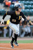 Catcher Daniel Arribas (23) of the Bristol Pirates in a game against the Greeneville Astros on Friday, July 25, 2014, at Pioneer Park in Greeneville, Tennessee. Greeneville won, 9-4. (Tom Priddy/Four Seam Images)