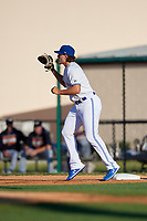 Dunedin Blue Jays first baseman Ryan Noda (19) during a Florida State League game against the Lakeland Flying Tigers on April 18, 2019 at Jack Russell Memorial Stadium in Clearwater, Florida.  Dunedin defeated Lakeland 6-2.  (Mike Janes/Four Seam Images)